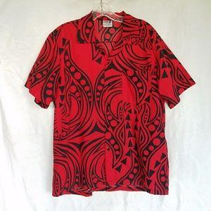 Da Edge aloha shirt, Hawaiian tribal print, Medium